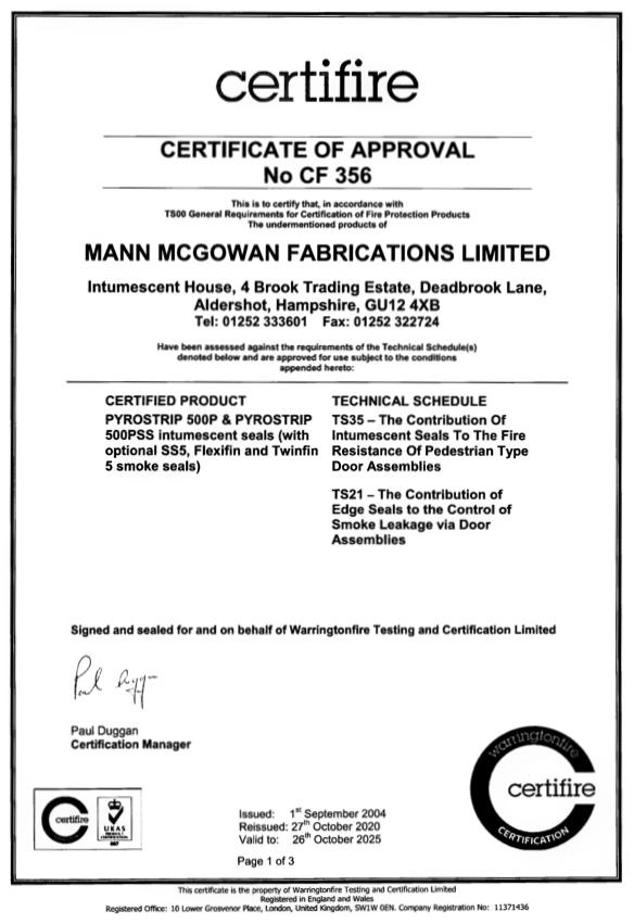 Certifire CF 356 Certificate