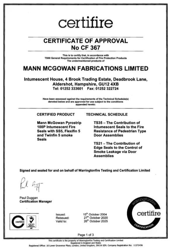 Certifire CF 367 Certificate