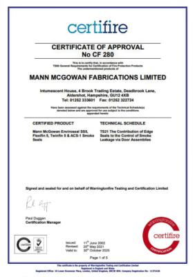 CF280 Certifire Certificate