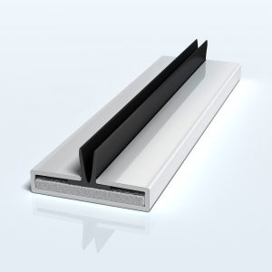 Flexifin Twin blade, intumescent smoke and acoustic seal. Co extruded blades off centre